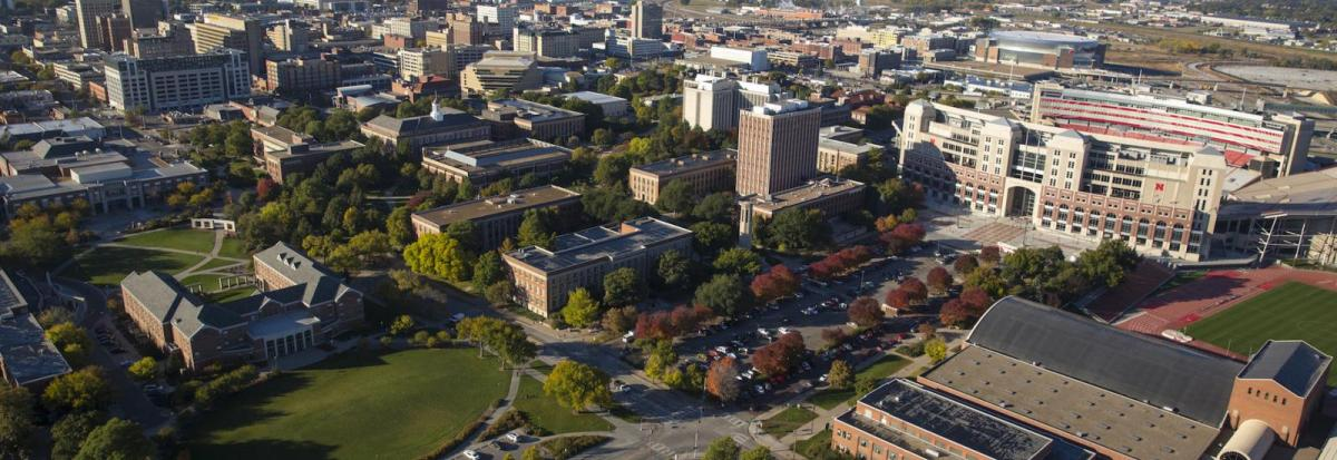 Aerial image of the University of Nebraska-Lincoln with Memorial Stadium on the right and downtown Lincoln in the background